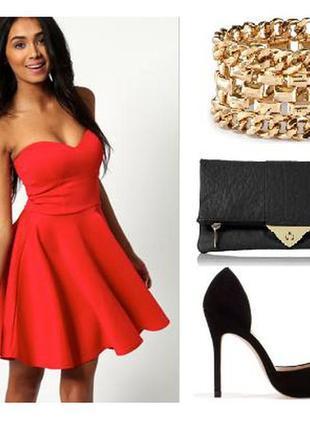 Яркое красное платье бюстье солнце кукольное милое