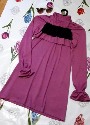 Стильное натуральное  эластичное платье водолазка  с рюшами от...