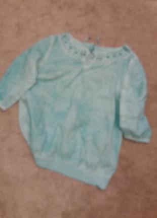 Яркий бирюзовый блузон варенка   котон на 50.52р   ю15