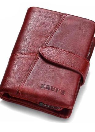 Кошелек кожаный женский из натуральной кожи красный гаманець п...