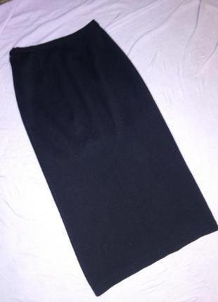 Тёплая,вязаная-джерси,длинная юбка-карандаш с разрезом,на подк...