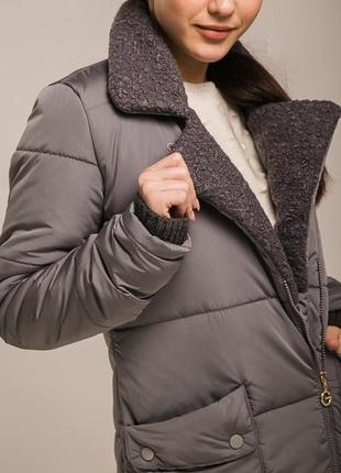 Деми куртка стеганное пальто с плюшевым воротником плащевка на...