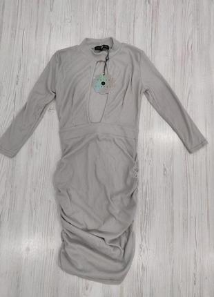 Ликвидация товара 🔥  нежное серое платье в рубчик с вырезом на...