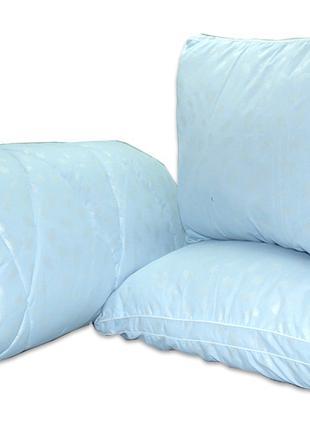 "Одеяло лебяжий пух ""Голубое"" евро + 2 подушки 50х70"
