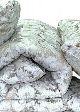 "Одеяло лебяжий пух ""Цветы"" евро + 2 подушки 50х70"