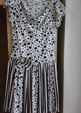 💥 1+1=3💥 яркое белое платье в горох s