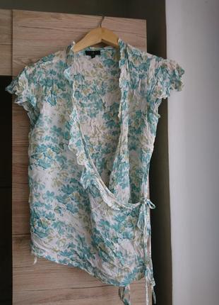 Белая блуза в цветы  на запах l 💥1+1=3💥