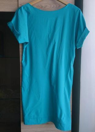 Актуальное платье с вырезом на спинке цвета бирюза l