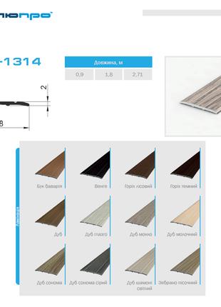 Поріг для підлоги ламінований ПАС-1314м 28х2 П30  – Поріжок