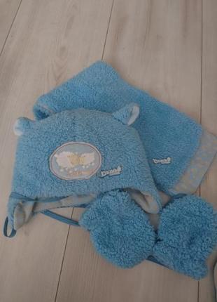 Крутейший голубой набор шапка+шарф+варежки demb house