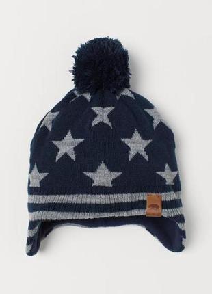 Зимняя шапка  в звезды на флисе h&m