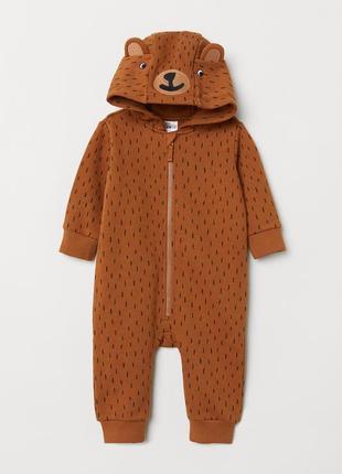 Детский комбинезон-человечек на молнии коричневого цвета  мишк...