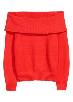 Джемпер красного цвета с открытыми плечами из мягкой пряжи с д...