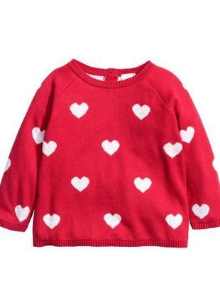 Свитшот в сердечки красного цвета h&m