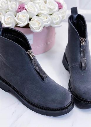 Стильные зимние ботинки эко замш серого цвета noname