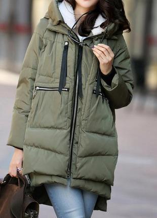 Стильная куртка женская al  на синтепоне цвета хаки