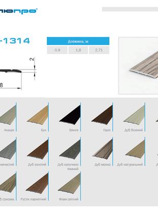 Поріг для підлоги фарбований ПАС-1314м 28х2 П30 – Поріжок