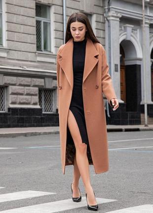 Длинное кашемировое пальто оверсайз