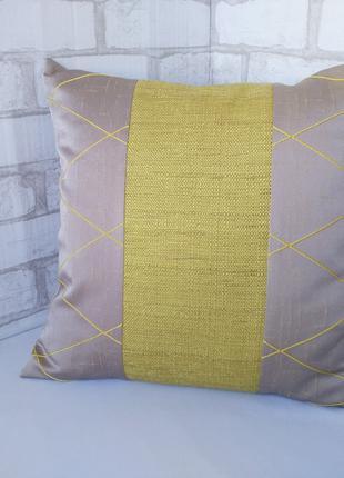 "Декоративная подушка ""Жёлтый & серый"", 40 см х 40 см"