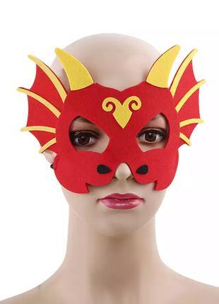 Детская маска для праздников красная - размер 12*20см