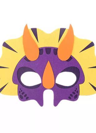 Детская карнавальная маска разноцветная - размер 14*21см