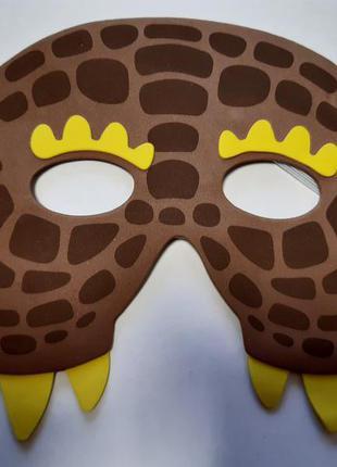 Детская карнавальная маска коричневая - размер 13*17см