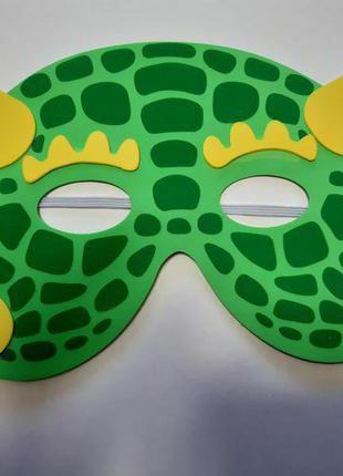 Детская карнавальная маска салатовая - размер 17*12см