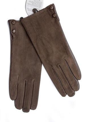 Женские комбинированные перчатки кожа+замша коричневые