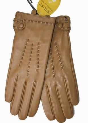 Женские кожаные коричневые перчатки с мехом