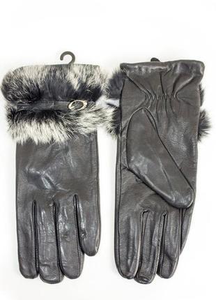 Женские перчатки с мехом