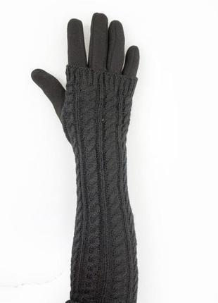 Женские перчатки стрейч +митенка длинные