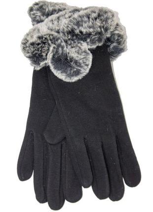 Женские перчатки стрейч+кролик