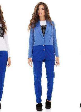Брючный женский костюм тройка: пиджак, брюки и кофта