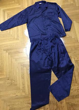 Атласная мужская пижама ночная рубашка большой размер