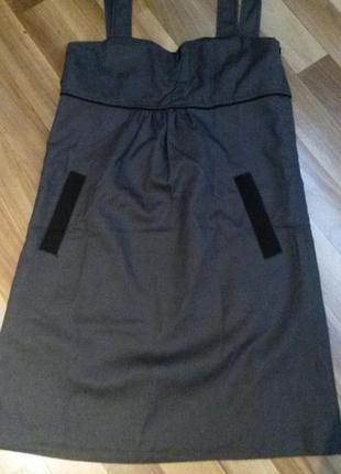 Платье темно-серое с карманами и декором