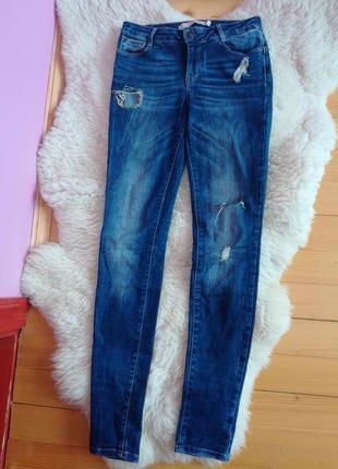 Джинси zara, джинсы с потертостями