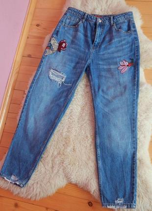 Мом джинси з вишивкою, джинсы mom с вишивкой