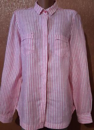 Рубашка в полоску льняная 100%лён размер 14 m&s