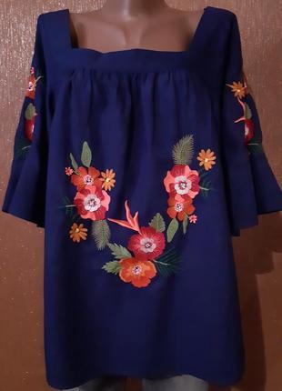 Блузка с вышивкой размер 16 tu
