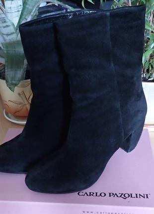 Черные замшевые (деми) ботинки / полусапоги Carlo Pazolini, 38