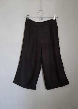 Черные брюки кюлоты с высокой посадкой