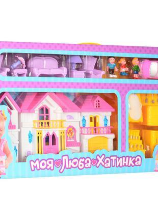 Игрушечный домик для кукол WD-922 с мебелью и машинкой (Желтый)