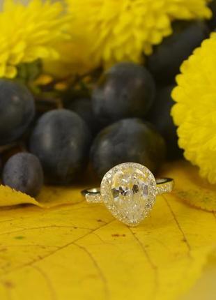 Кольцо из серебра с камнем капля