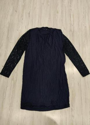 👑♥️final sale 2019 ♥️👑  синее трикотажное платье с кружевніми ...