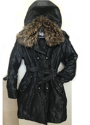 Модное зимнее женское пальто пуховик с шикарным меховым воротнико