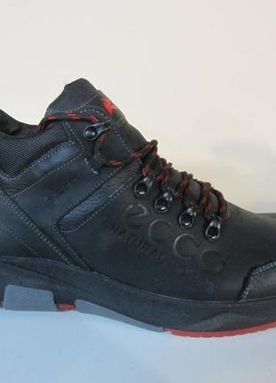 Мужские кожаные зимние ботинки/кроссовки в стиле ecco обувь се...