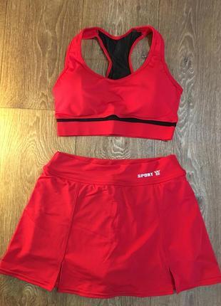 Костюм для фитнеса топ и юбка – шорты