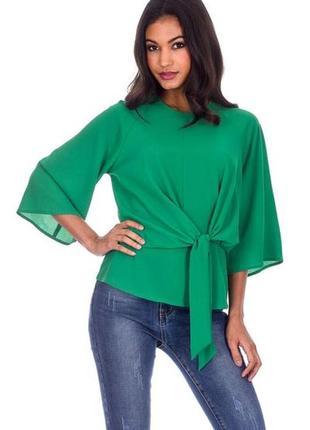 Стильная зеленая блуза с расклешенными рукавами ax paris ( раз...