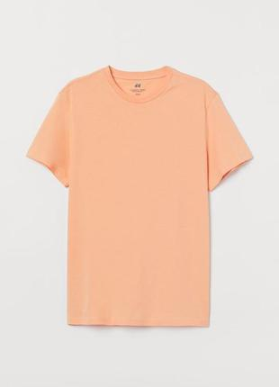 Футболка персикова, чоловіча. футболка классического кроя.