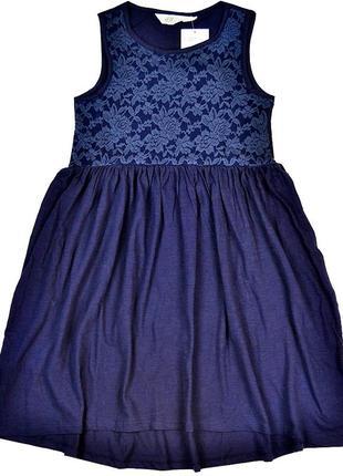 Платье h&m 122-128 см, 6-8лет темно-синее